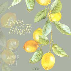 Lemon Wreath Watercolor. Hand painting fruit art kitchen