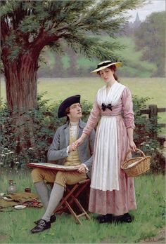 The Lord of Burleigh, Tennyson (1919) by Edmund Blair Leighton (1853-1922)