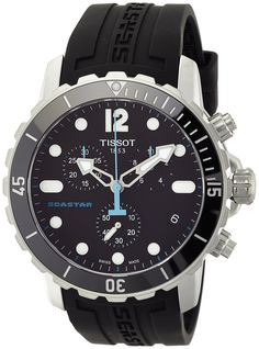 Amazon.com: Tissot Seastar 1000 Chronograph Black Dial Black Rubber Mens Watch T0664171705700: Tissot: Watches