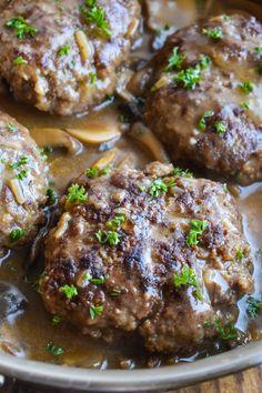 Hamburger Steak with Mushroom Gravy • Dance Around the Kitchen Steak Recipes, Crockpot Recipes, Cooking Recipes, Pasta Recipes, Yummy Recipes, Crockpot Mushrooms, Thai Coconut Soup, Thai Soup