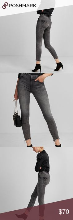"Express high rise distressed hem ankle jean Express high rise distressed hem ankle jean. Beautiful gray wash with distressed hem. Ankle length. Waist 15"" and inseam 29"". True to size. Express Jeans"