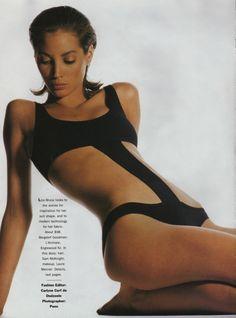 vintage Christy Turlington editorial | Lisa Bruce swimsuit