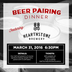 Oak & Thorne Public House Presents The Hearthstone Brewery Craft Beer Pairing Dinner