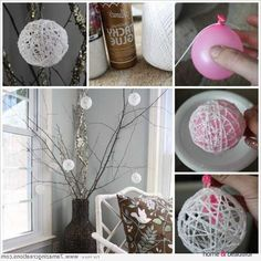Craft These Pretty Glittery Yarn Snowball Ornaments - http://www.homeandbeautiful.com/decorating/craft-these-pretty-glittery-yarn-snowball-ornaments.html