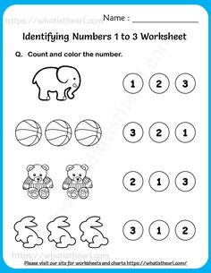 Identifying Numbers 1 to 3 Worksheets For Pre-K