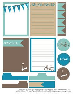 Gina's Designs: Freebie Friday Ride Printable journal cards