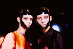 Alexander McQueen's Black Lacquer Face Masks: The Look of the Day in Paris for more fashion and beauty advise check out The London Lifestylist http://www.thelondonlifestylist.com