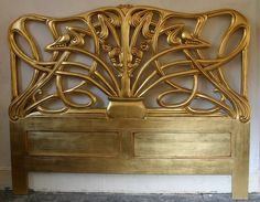 Mahogany Carved 5  French Cheri Rococo Style Gilt Gold Bed Head Board King Size