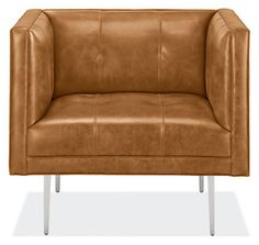 This chesterfield-inspired leather chair is anything but old fashioned. Details like saddle stitching, blind tufts and stiletto legs take a classic design in a decidedly modern direction. Structured and supportive, Wynwood's moderate seat depth and tall arms provide an upright feel perfect for cocktails and conversation. This modern, finely tailored chair will become the focal point of your room.