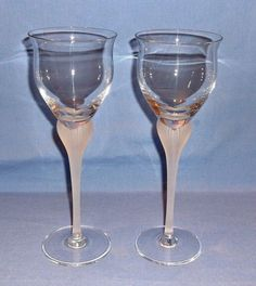 MIKASA Crystal Wine Glasses - Set of 2 - Sea Mist Pattern - DISCONTINUED   #MikasaCrystal
