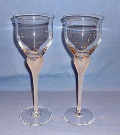 MIKASA Crystal Wine Glasses - Set of 2 - Sea Mist Pattern - DISCONTINUED   #MikasaCrystal