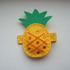 cute felt pineapple hair clip with swarovski crystals hair clippie yellow. $2.95, via Etsy.