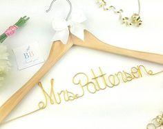 Wedding dress hanger- wood wedding hanger - wedding hanger set- bridesmaids wood hangers -mr and mrs hanger- flower girl hanger -wired twist
