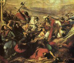 Los francos, encarnizados enemigos de los visigodos, que destruyeron su reino de Tolosa. Aquí trabados en lucha con los mismos musulmanes que aniquilaron el reino visigodo de Toledo.