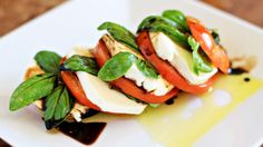 This is a great summer recipe for an appetizer or salad. A wonderful way to use up those garden tomatoes.