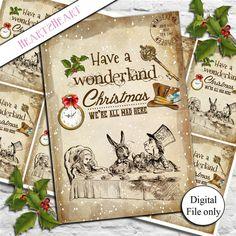 8 Digital Vintage Alice in Wonderland Christmas