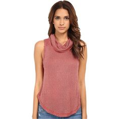 Free People Timber Cowl Tank Top Women's Sleeveless ($28) ❤ liked on Polyvore featuring tops, brown, brown tops, red singlet, free people tank, cowl neck tank and cowl neck tank top