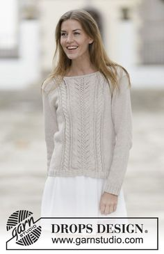 "Knitted DROPS jumper with lace pattern and cables in ""Cotton Light"" or ""Belle"". Size: S - XXXL. ~ DROPS Design"