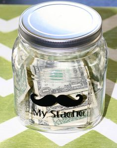 Vinyl Decal My Stache with Mustache Decal to label jar.  Great Gift. Choose Your COLOR. via Etsy
