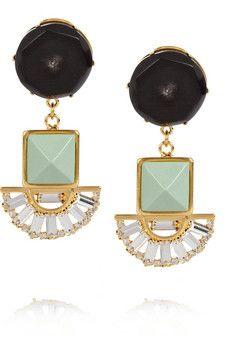 Marni - Gold-tone horn and glass crystal clip earrings Chanel Earrings, Art Deco Earrings, Star Earrings, Crystal Earrings, Clip On Earrings, Statement Earrings, Other Accessories, Jewelry Accessories, Boyfriends