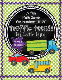 Traffic Teens A Math Game for Numbers Distance Learning Fun Math Games, Number Games, Fun Board Games, Kindergarten Math, Teaching Math, Maths, Teaching Aids, Beach Games For Adults, Games For Teens