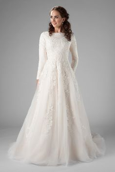 long sleeved wedding dress with lace, the Wilder at latter day bride - Bridal Gowns Modest Wedding Gowns, Dream Wedding Dresses, Modest Dresses, Bridal Dresses, Long Dresses, Backless Wedding, Boho Wedding, Wedding Decor, Bridal Hijab