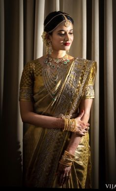 Embellished Bordered Kanjeevarams Are Here To Stay - Embellished Bordered Kanjeevarams Are Here To Stay - Pattu Sarees Wedding, Wedding Sarees Online, Indian Bridal Sarees, Indian Bridal Fashion, Silk Sarees, Saree Jewellery, Diamond Jewellery, Party Wear Dresses, Bridal Dresses