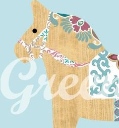 Cute wooden Dala Horse Collage Poster Print by...