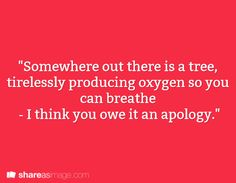 """""""Algae make up most oxygen actually..."""" """"Fine! There is algae producing oxygen so you can breathe - I think you owe it an apology."""""""