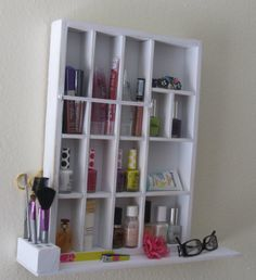 Cosmetic Organizer with shelf  Distressed White by ThingsOnDisplay, $49.95