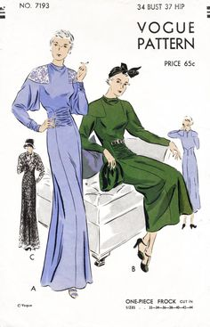 Vogue 7193 1930s afternoon dress evening gown vintage sewing pattern