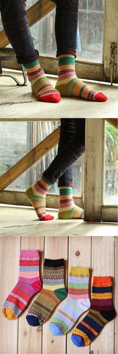 Men Women Stripe Cotton Socks Design Multi-Color Fashion Casual Ankle Sock #fashion #style #winter #sock