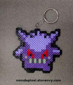 Gengar Pokemon Perler Keychain! This mouth even glows in the dark.