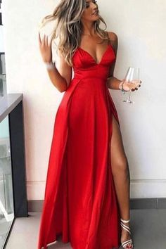 Affordable Red Spaghetti Strap V-Neck Side Slit Floor Length Evening Prom Dresses Evening Dresses Red, Prom Dress, V Neck Evening Dresses, Evening Dresses V-neck Prom Dresses 2019 V Neck Prom Dresses, Sexy Dresses, Fashion Dresses, Red Formal Dresses Long, Cute Red Dresses, Party Dresses, Dress Formal, Red Ball Dresses, Occasion Dresses