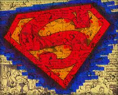 Superman Logo Cracked Paint Pen and Ink Colored Illustration PRINT various sizes available comic book man of steel graphic novel symbol hero by WyldTrees on Etsy
