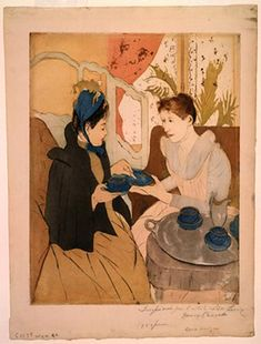 Mary Cassatt 'Afternoon Tea Party' is part of a series of ten color prints in which Mary Cassatt explores the domestic activities and roles of women in the nineteenth century. In this scene, a young woman serves tea and cakes to a visitor. Women typically called on one another in the afternoons, and serving tea was a ritual that often included discussion and relaxation.