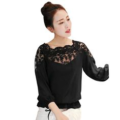 >> Click to Buy <<  NEW  2017 Women Fashion  Chiffon Lace Flower Loose Blouse Casual Long Sleeve Lace  Sexy Tops Shirts   #Affiliate