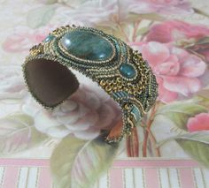 African Jade Bead Embroidered Cuff