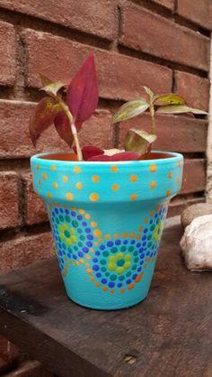 Turquesa. Turquoise. Macetas pintadas a mano. Facebook: A'cha Pots. achapots@hotmail.com
