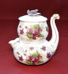 Lefton VIOLETS Stacking Creamer & Sugar-Double As Individual Teapot #Lefton