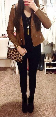 #winter #fashion /  Brown Leather Jacket / Leopard Shoulder Bag / Black Skinny Jeans/ Black Booties / Black Top