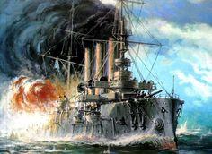 Guerra Ruso-Japonesa, crucero Diana en la batalla del Mar Amarillo. Más en www.elgrancapitan.org/foro