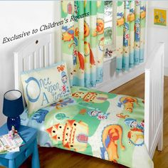 Camelot, boys toddler bedding with scenes of knights and dragons.