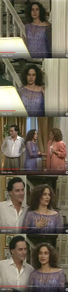 Cenas finais da novela Pedra sobre Pedra - Rede Globo, em que a personagem Úrsula Pontes (Andrea Beltrão) usa um vestido de crochê.