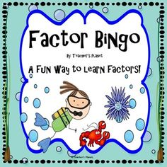 This game is a fun and engaging way to learn factors. Students pick products to write on their bingo boards. The caller then draws factors. Students can fill in their bingo board if the number drawn is a factor on their board. A factor chart is also inclu Math Bingo, Math 5, 5th Grade Math, Fifth Grade, Math Worksheets, Fun Math, Math Games, Teaching Math, Teaching Ideas