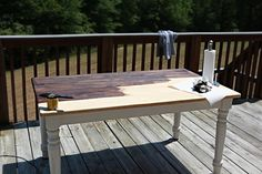 Next came stain. I chose MinWax in Dark Walnut. Love this bower power kitchen table redo with the walnut stain.