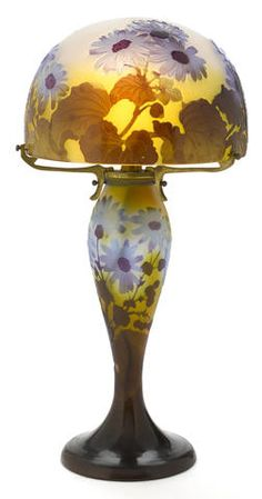 "Gallé cameo glass foliate lamp, circa 1900 ~ The daisy , a wildflower is made up of the word ""dei's eye "" or God's eye."