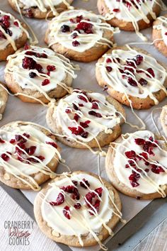 Cranberry Bliss Cookies...soft, white chocolate filled cookies topped with cream cheese frosting and tart craisins! PERFECT!