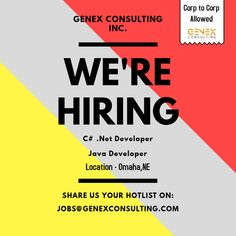 Net Developer & Java Developer for our multiple client openings based at Omaha,NE location. ( 6 Months Contract to Hire ) *Third Party Candidates Allowed. ( EAD,GC EAD, US Citizen & Green Card ). Job Opening, C2c, Third Party, Java, Citizen, 6 Months, Green, 6 Mo