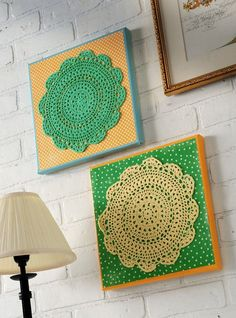 Doily wall art made with Mod Podge and scrapbook paper